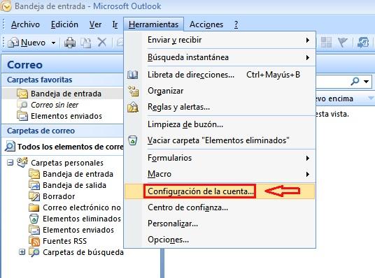 Configuración cuenta de correo outlook 2007