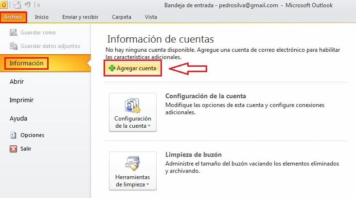 Configurar Cuenta correo Outlook 2010