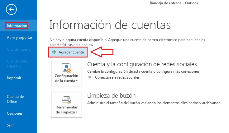 configurar cuenta correo outlook 2013
