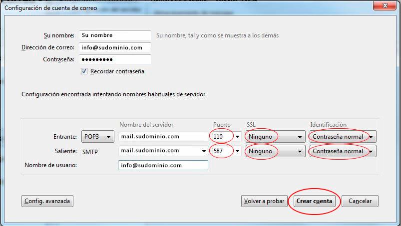 configurar cuenta correo thunderbird 6
