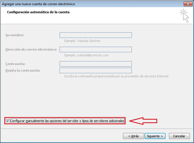 Configurar datos Outlook 2007