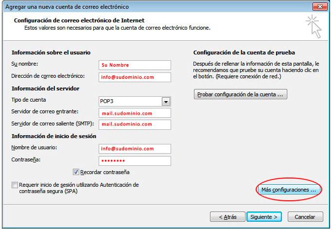 parametros configuracion correo outlook 2016