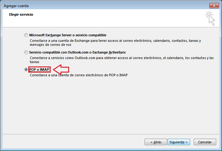 tipo cuenta correo outlook 2013