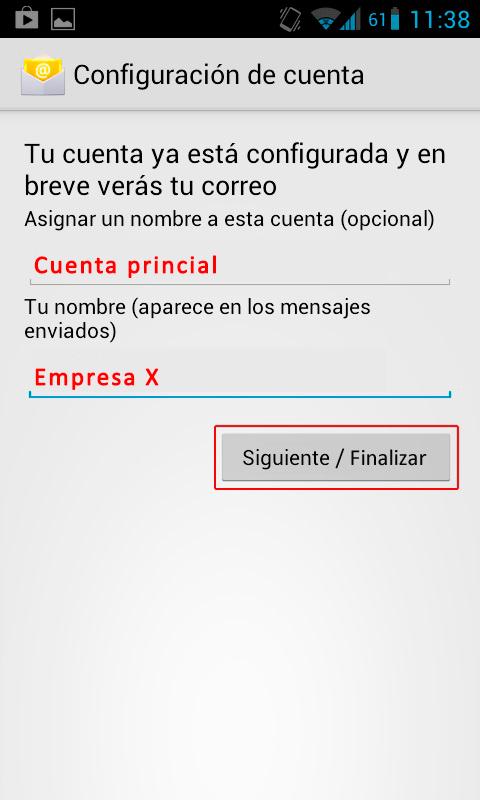 ultimos pasos configuracion correo android 2 2