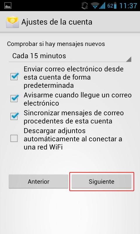ultimos pasos configuracion correo android