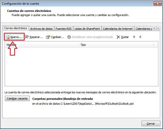 Ventana configuración correo Outlook 2007