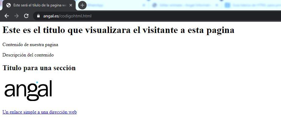 Resultado de código HTML simple